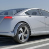 Car design concept on the road with silver blue metalic color.