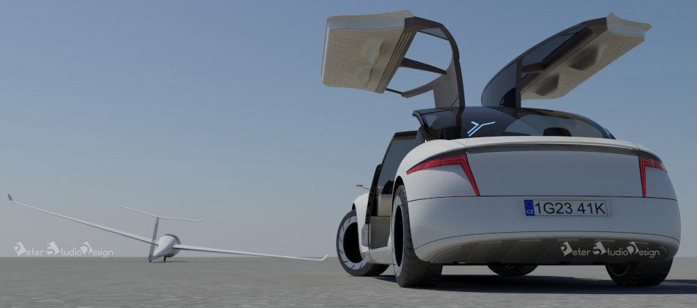 Concept car design with glider on the side