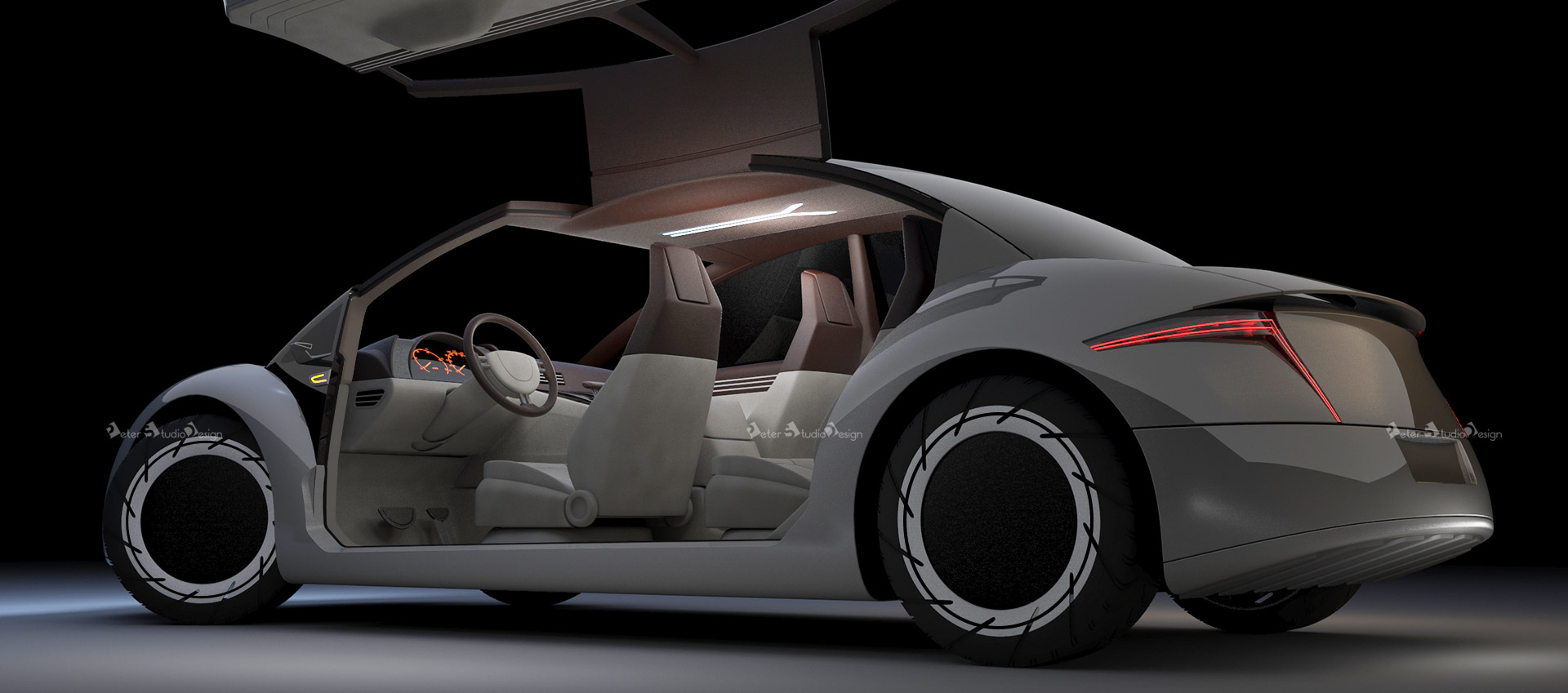 Car design concept with wing opening doors